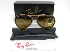 f9e9709436 New Vintage B L Ray Ban Traditionals Style G Arista Gold Tortoise B-15  Brown Outdoorsman Aviator W0743 Sunglasses USA