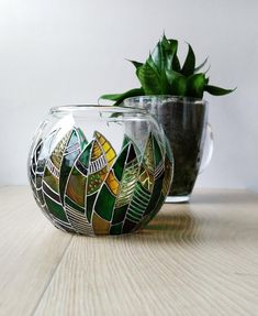 Stylish green & brown piece for your plants. Unique Glass Sphere planters for home and office. Can be used for succulents and cactuses. This glass planter pot Colorful Succulents, Succulents In Containers, Potted Succulents, Succulent Planters, Hanging Planters, Succulents Garden, Plant Painting, Bottle Painting, Cactus Painting