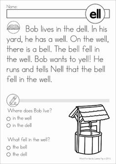 Word Family Word Work Unit - ELL. A page from the unit: Reading comprehnsion
