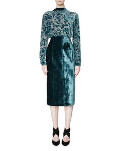 Long-Sleeve+Velvet+Devoré+Combo+Dress+by+Lanvin+at+Bergdorf+Goodman.