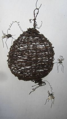 Barbed Wire Wasp Nest With Can Openers Wasps by thedustyraven, $132.00