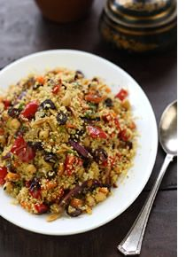 Moroccan couscous with chickpeas, fast-roasted vegetables & almonds
