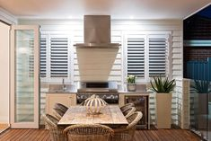 Phill and Amity, The Block Decor, Outdoor Entertaining Area, Outdoor Kitchen, New Homes, Outdoor Rooms, House, Home Decor, Home Renovation, Hamptons Beach House