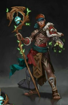 Half-Elf Druid - Pathfinder PFRPG DND D&D d20 fantasy