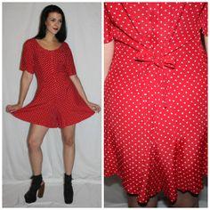 Vintage Polka Dot Romper 90s Red  White by PastLivesofNewYork, $58.00