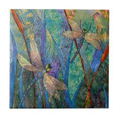 Colorful Dragonflies Tiles
