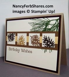 Stampin' Up! ... handmade card with a band holding four  inchies ... like how one pine cone stamp is stamped in different colors and positions on the inchies ....