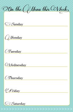 7 Best Images of Printable Dinner Planner - Free Printable Weekly Menu Planner, Free Printable Weekly Menu Planner and Free Meal Planning Printables