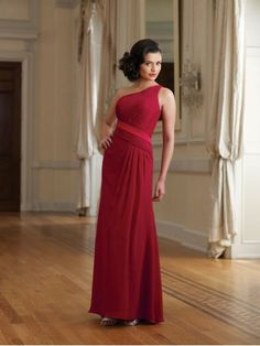 Chiffon One-shoulder Neckline Side Gathered Bodice A-line Bridesmaids Dress