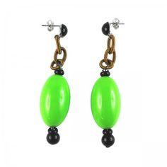 Lacrom - Sharra Pagano - Earrings Pending stud earrings with big oval resin bead.