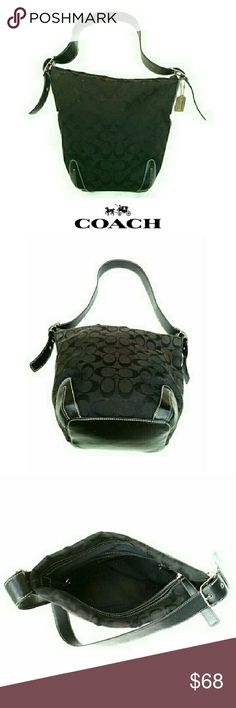 """COACH BLACK SIGNATURE COLLECTION BUCKET BAG COACH BLACK SIGNATURE BUCKET BAG Pre-Loved/NO G055_6076 Beautiful Coach Signature Collection w/Woven Jacquard Fabric Specially Treated to Repel Water & Stains.  Large Interior Compartment w/ Zippered Closing 2 Interior Slip Pouches / Slight Fade Mark ? 1 Large Zipper Side Compartment w/Logo Stamp Solid Color Lining  Approx Meas; Heel 10"""" W 11.5"""" Drop 4"""" Top Side has Some Kind of Chafing (see pic 4) Pls See All Pics. $ Reflects Use. Ask ? If Needed…"""