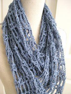 Cowl Scarf CrochetedLacySteel BlueSummer CowlSpring by RoseJasmine, $20.00