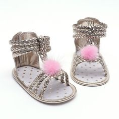 Sandals for Girls Newborn Baby Shoes Fashion Woven PU Hair Ball Baby Girl  Sandals Summer Golden c5789092e358