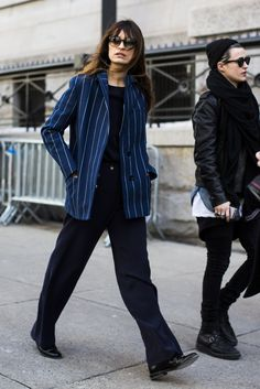 catch that from another angle. #CarolineDeMaigret working pinstripes to perfection in NYC.