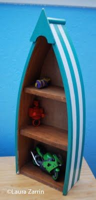 Boat-shelf    http://creativewhimsies.blogspot.com/2011/06/day-of-antiquing-and-junking-with-my.html