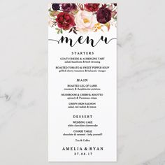 Wedding Planning Floral Burgundy Wedding Menu Card - Dreamy meets rustic with this burgundy floral wedding menu. Add your own wording into the template below the beautiful script heading. This card is part of our 'Anne Plan Your Wedding, Wedding Tips, Wedding Venues, Wedding Planning, Wedding Day, Luxury Wedding, Dream Wedding, Wedding Photos, Wedding Loans