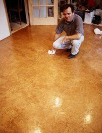 Earthen Floor. Made of dirt, clay, and straw! Sealed with an oil, like linseed or hemp oil.