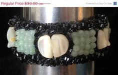 ON SALE Bead Embroidered Cuff Mother of Pearl by bjswearableart, $18.00