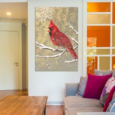 East Urban Home Winter Birds Series: Cardinal I Painting Print on Wrapped Canvas Size: