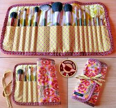 DIY: roll-up makeup brush case or pencil case by esmeralda or make it a bit deeoer for paint brushes