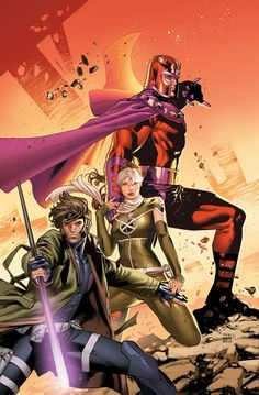 Gambit, Rogue and Magneto by Clay Mann