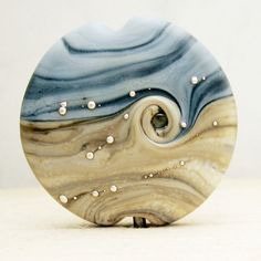 SRA Lampwork Glass Bead Organic Etched by StoneDesignsbySheila, $22.00