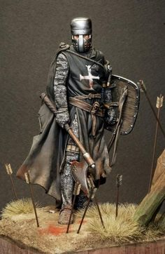 Pegaso Models - Knight Hospitaller, Painted by Medieval Knight, Medieval Armor, Medieval Fantasy, Armadura Medieval, Crusader Knight, Knight Armor, Knights Hospitaller, Knights Templar, Landsknecht