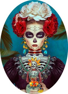 mexican skull, tradition, beautiful, red and whit colorful, fun, dark