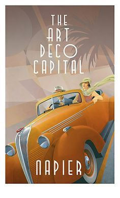 The Art Deco Capital, by Stephen Fuller. This poster was used to publicise Napier City, in New Zealand. The town was mainly destroyed by a powerful earthquake, in They re-built it in what was then the most modern style of the time - Art Deco. City Poster, Poster Art, Kunst Poster, Art Deco Posters, Retro Posters, Poster Ideas, Poster Prints, Art Deco Illustration, Art Deco Stil