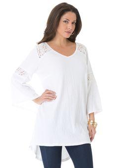 Plus Size Gauze Lace Tunic