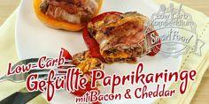 Low-Carb gefüllte Paprikaringe mit Bacon & Cheddar