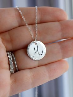 Silver Initial Necklace Custom Monogram Necklace by LRoseDesigns, $34.50