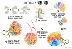 How to make a pom pom by Sian Keegan using multicoloured yarn Pom Pom Crafts, Yarn Crafts, How To Make A Pom Pom, Diy Ribbon, Weaving Art, Craft Tutorials, Diy For Kids, Crafts To Make, Hand Embroidery