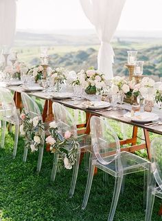 Romantic Destination Wedding in Tuscany, Cheer Acrylic Ghost Chairs
