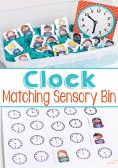 FREE Matching Clocks Sensory Bins Printables