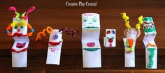 """Simple paper puppets from Creative Play Central ("""",)"""