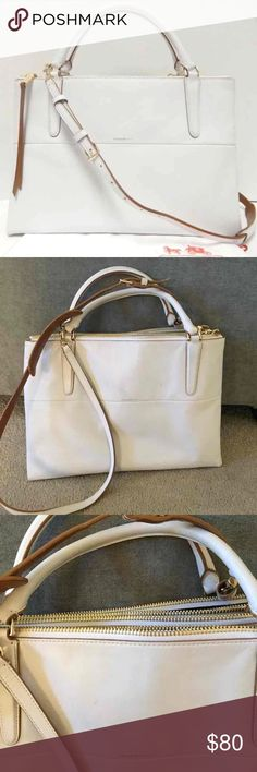 """Coach Large Edgepaint Borough Bag Beautiful white leather large borough bag with saddle tan edge paint Excellent used condition  Top handle with removable cross body strap Some visible but minimal dirt on the top handles  Retails for $595 Inside zip, cell phone and multifunction pockets Fabric lining Handles with 5 1/2"""" drop Strap with 20"""" drop for shoulder or crossbody wear 13 3/4"""" (L) x 9"""" (H) x 5 1/2"""" (W) Coach Bags Shoulder Bags"""