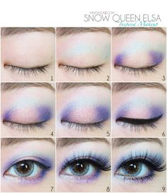 2014 Halloween Disney Frozen eye makeup tutorial - diy, eyeshadow, Snow Princess #2014 #Halloween