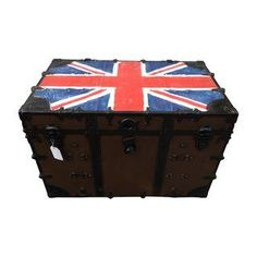 Antique Metal Steamer Trunk with Union Jack Flag