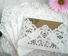 Doily Paper Lace Envelopes, Vintage, Wedding, Handmade, A2 White, Invitation Liner, Tea, Shabby Chic, 25 Piece Set. $39.99, via Etsy.