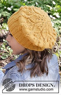Little Sunshine - Knitted children beret with leaf pattern worked top down in DROPS Karisma. - Free pattern by DROPS Design Knitting For Kids, Free Knitting, Knitting Projects, Drops Design, Sweater Knitting Patterns, Knit Patterns, Knit Or Crochet, Crochet Hats, Skirt Pattern Free