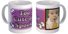 Halloween peek-a-boo eyes are playfully scattered about on this personalized Halloween photo mug. Personalize it with your cutest photo image and greeting. Fill it with candy for a great Halloween treat for a teacher or a Grandma. #trickortreat #halloweenideas