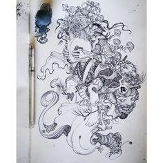 Surrealism art inspiration and artwork by james jean Sketchbook Drawings, Artist Sketchbook, Art Sketches, Art Drawings, Cartoon Star Wars, Tattoo Fairy, Tatoo Art, Drawings Pinterest, Illustration Art Nouveau