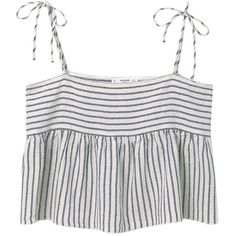 Mango Striped Cotton Top, Natural White ($29) ❤ liked on Polyvore featuring tops, crop top, sleeveless tops, ruffle top, white flounce top, flounce tops and striped top