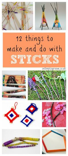 12 fun things to make and do with sticks. These simple craft ideas are great for nature crafts with sticks, or using up left over craft sticks
