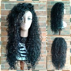 CLEARANCE // Long Beach Curly Half Wig, Kinky Curly Wig, Long Black Wig // COURAGE by GloryTress on Etsy https://www.etsy.com/listing/231505052/clearance-long-beach-curly-half-wig