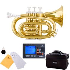 Mendini Mpt-L Lacquer Brass Bb Pocket Trumpet, Gold, 2015 Amazon Top Rated Trumpets #MusicalInstruments