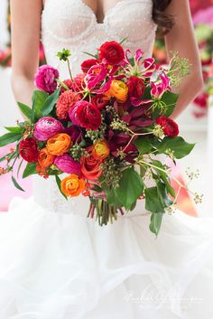 Rachel Clingen Toronto Canada - orange, hot pink, and red bridal bouquet