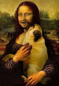 at Mona Lisa smile! DaVinci should have had a pug off to the side to entice her expression.Look at Mona Lisa smile! DaVinci should have had a pug off to the side to entice her expression. Baby Pug Dog, Pet Dogs, Pets, Funny Dogs, Funny Animals, Cute Animals, Animals Dog, Mona Lisa, Tableau Pop Art