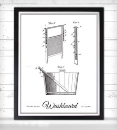Vintage Laundry Print - Washboard | These unique prints feature the original illustrations submitt... | Printmaking